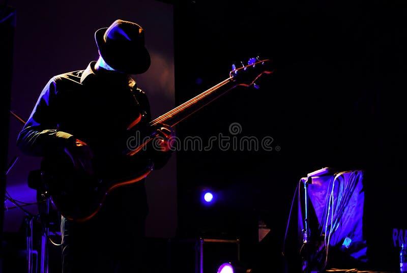 Silhueta de um guitarrista imagem de stock royalty free