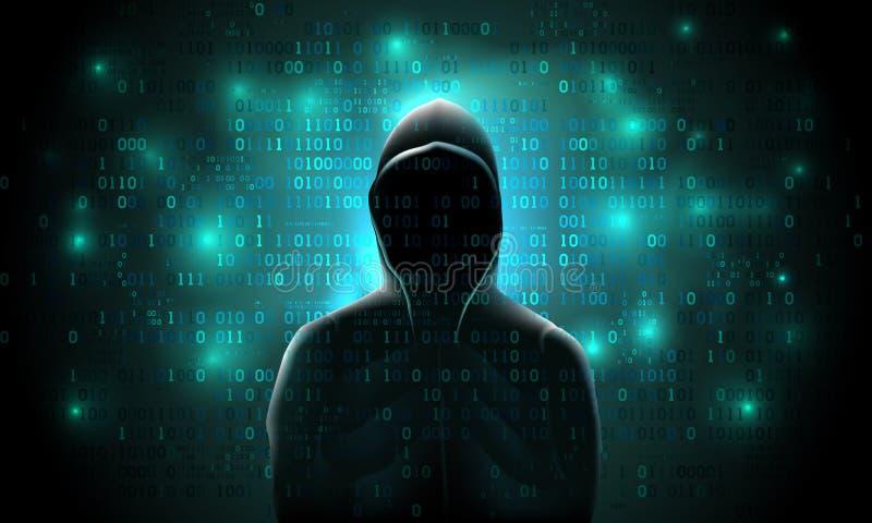 Silhueta de um hacker em um fundo com código binário e nas luzes, corte de um sistema informático ilustração do vetor