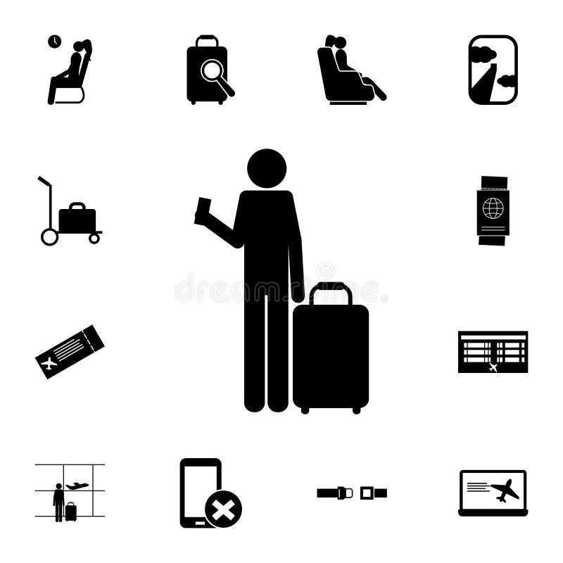 silhueta de um homem com um ícone do bilhete e da bagagem Grupo detalhado de ícones do aeroporto Sinal superior do projeto gráfic ilustração royalty free