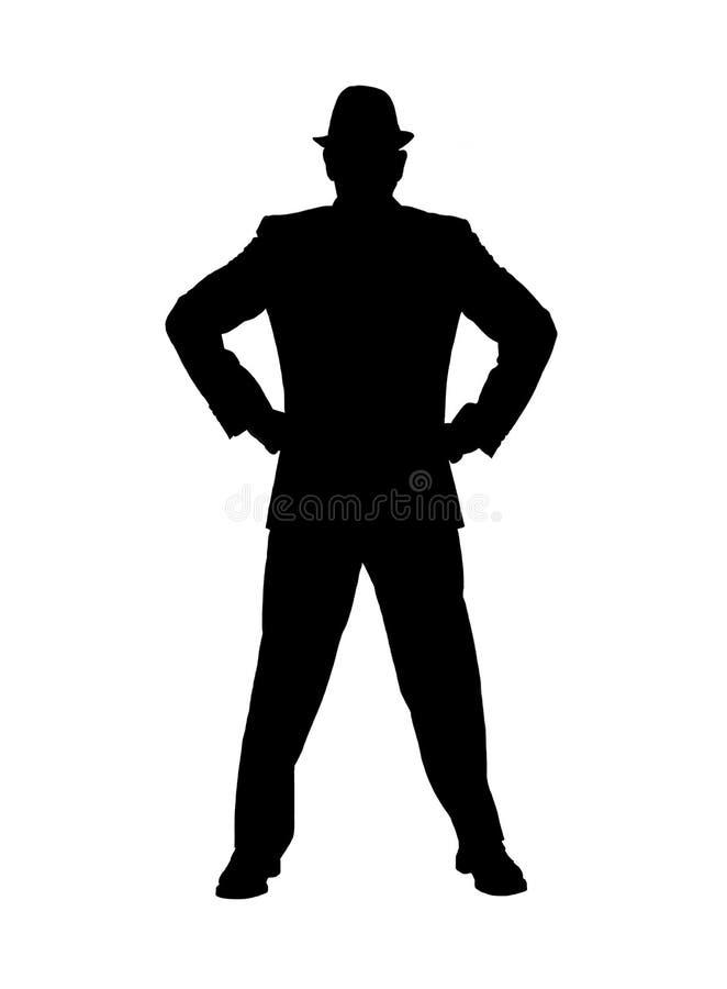 Silhueta de um homem com mãos nos quadris foto de stock royalty free