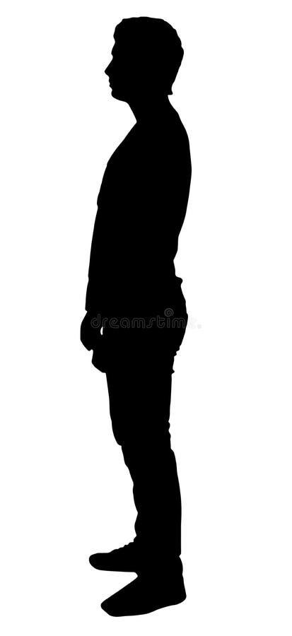 Silhueta de um homem que esteja lateralmente ilustração do vetor
