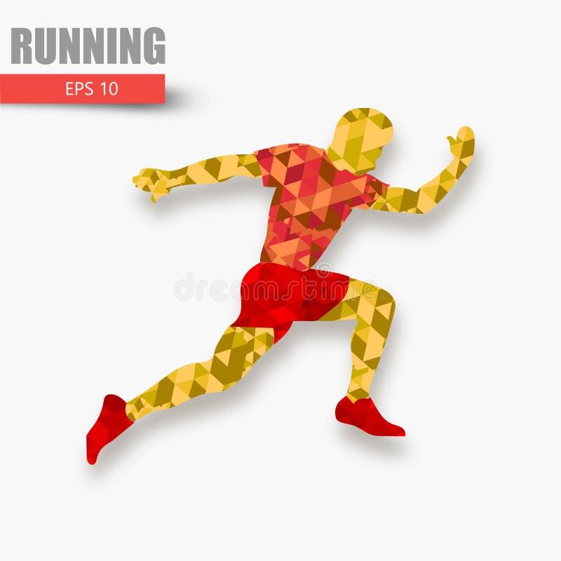 Silhueta de um homem running das partículas Texto e fundo em uma camada separada Homem Running ilustração do vetor