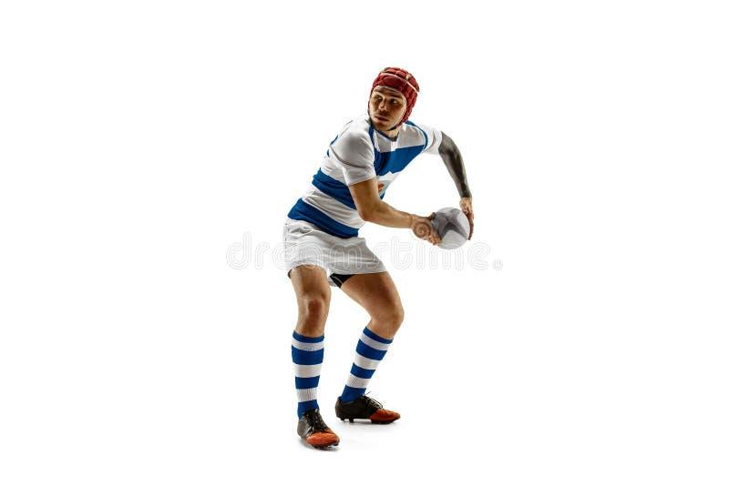 A silhueta de um jogador caucasiano do homem do rugby isolado no fundo branco foto de stock royalty free