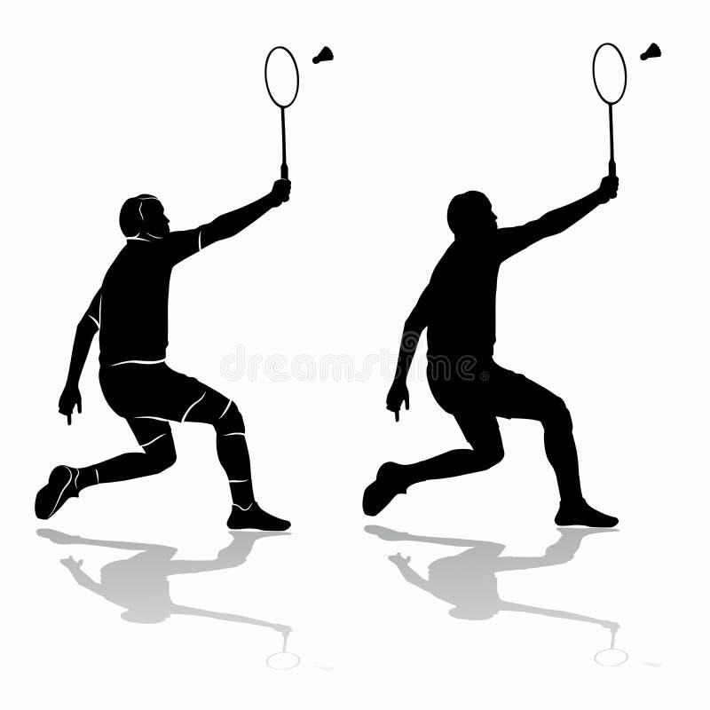 Silhueta de um jogador do badminton, tração do vetor ilustração stock