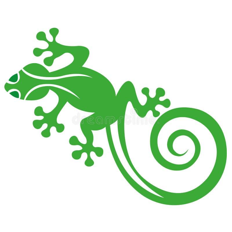 Silhueta de um lagarto, salamendra tirado no verde em um fundo branco Lagarto do réptil do logotipo ilustração royalty free