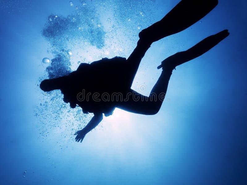 Silhueta de um mergulhador que flutua no mar azul fotos de stock royalty free