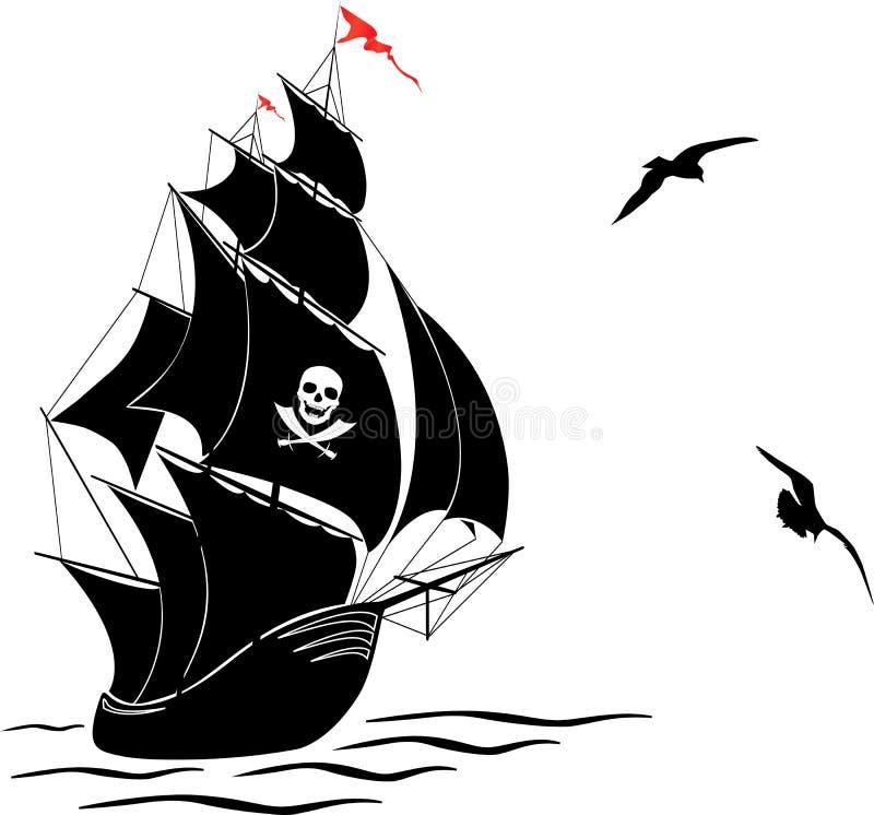 Silhueta de um navio de pirata velho da vela e de duas gaivota ilustração stock