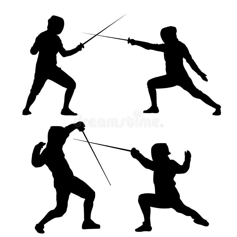 Silhueta de um par de espadachins em um fundo branco ilustração stock