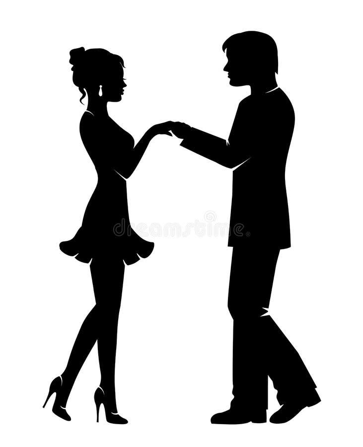 Silhueta de um par loving ilustração do vetor
