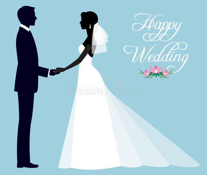 Silhueta de um par loving de recém-casados noivo e noiva no fu ilustração do vetor