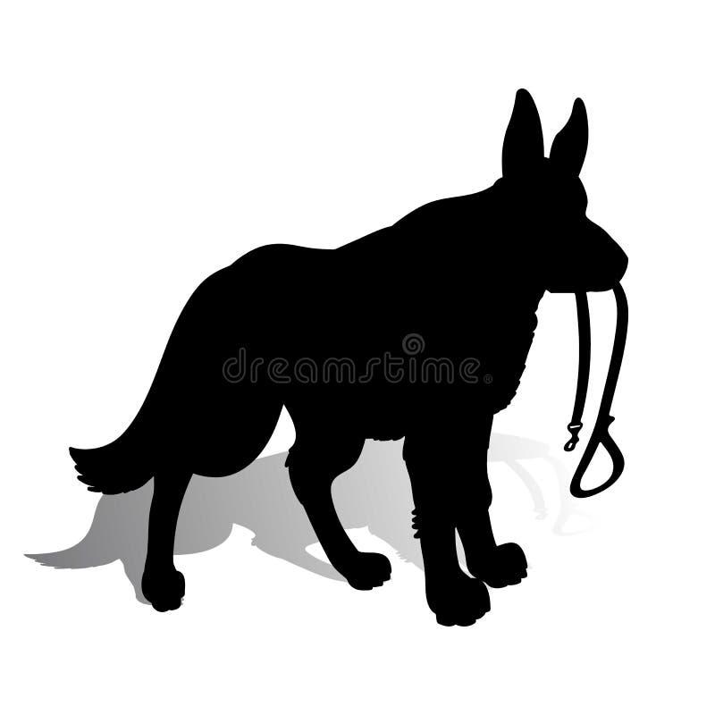 Silhueta de um pastor alemão do cão que guarda uma trela, em um whit ilustração royalty free