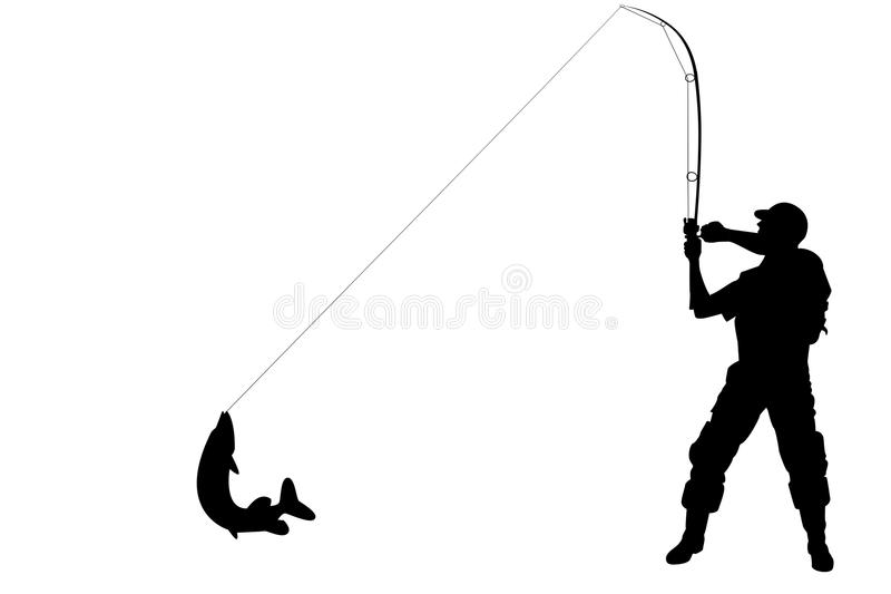 Silhueta De Um Pescador Com Um Peixe Do Pique Imagem de Stock