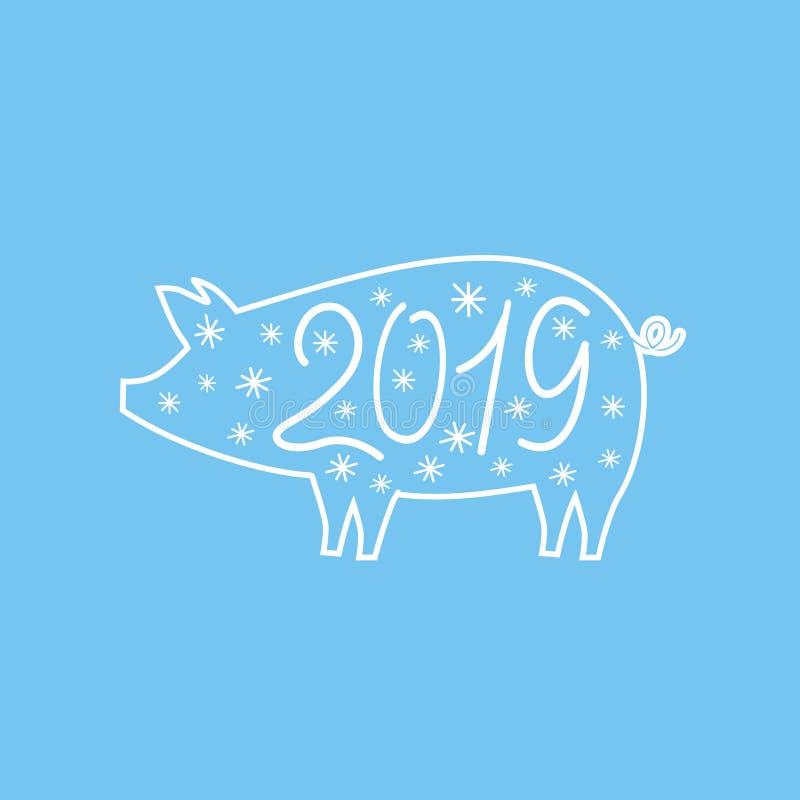 Silhueta de um porco gordo em um fundo azul com flocos de neve imagem de stock