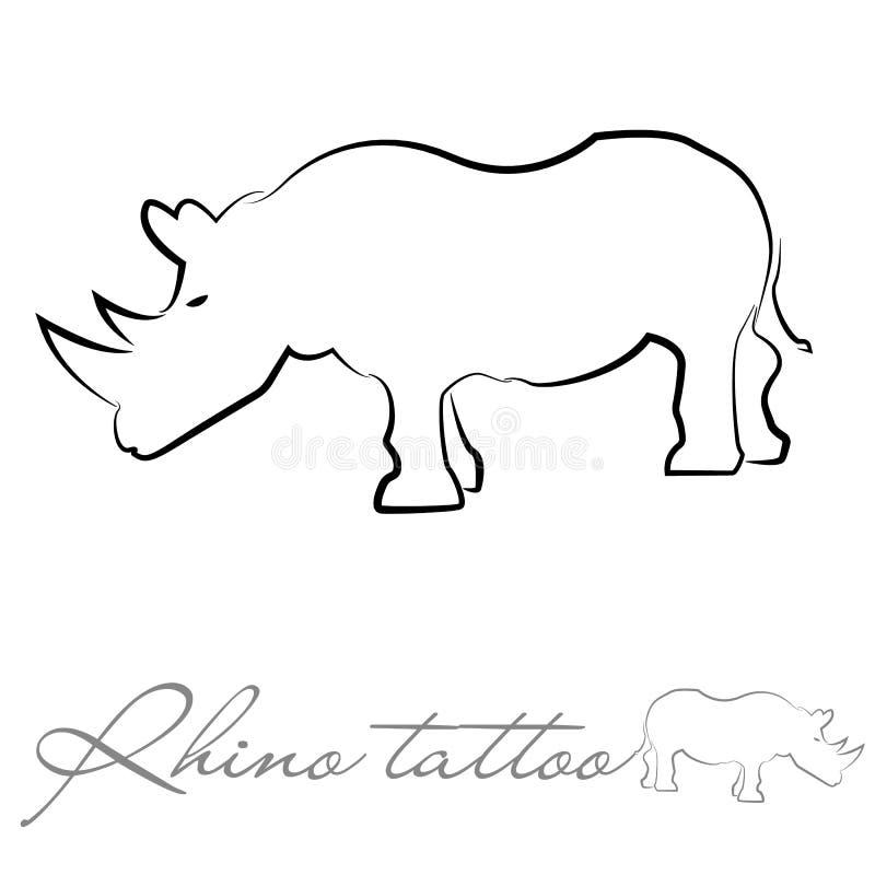 Silhueta de um rinoceronte para a tatuagem ou o logotipo imagens de stock royalty free