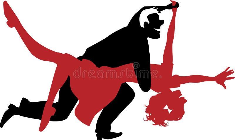 Silhueta de um rolo do balanço ou da rocha n da dança dos pares ilustração stock