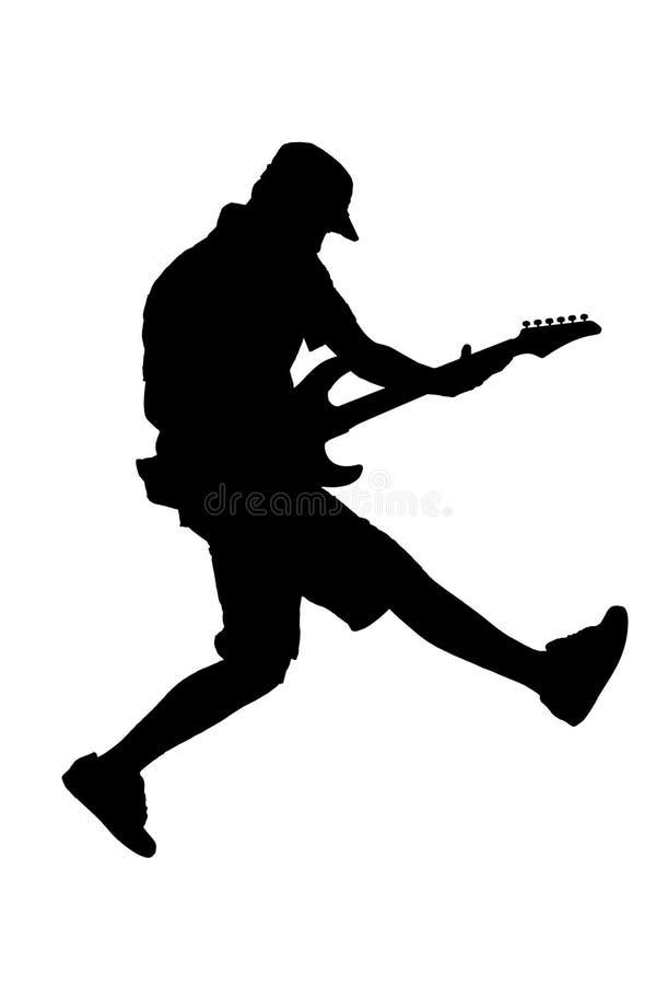 Silhueta de um salto do jogador de guitarra ilustração do vetor