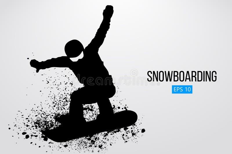 Silhueta de um salto do snowboarder isolada Ilustração do vetor ilustração royalty free