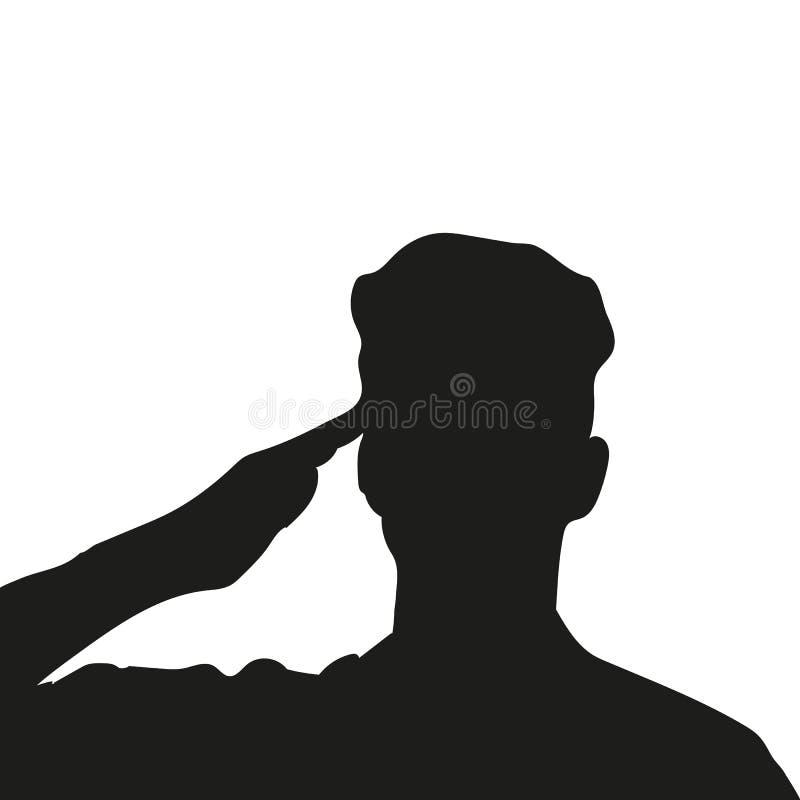 Silhueta de um soldado desconhecido ilustração do vetor