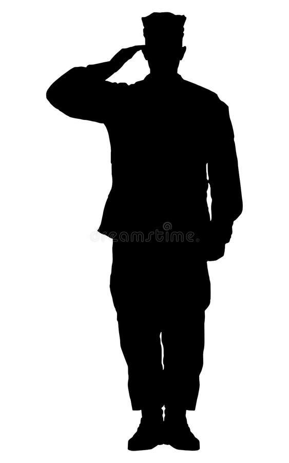 Silhueta de um soldado saudado ilustração stock