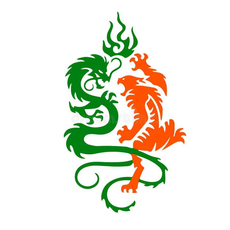 A silhueta de um tigre e o dragão lutam, uma tatuagem em uma parte traseira do branco ilustração royalty free