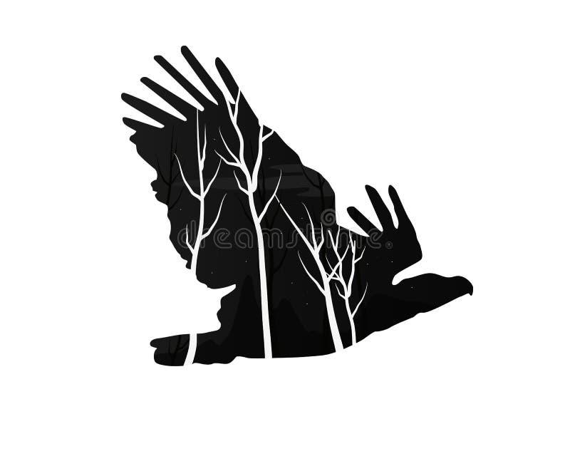Silhueta de uma águia com floresta do pinho ilustração do vetor