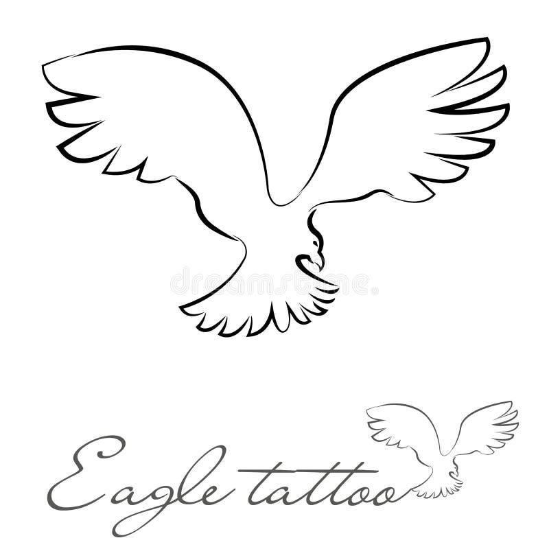 Silhueta de uma águia para a tatuagem ou o logotipo fotografia de stock royalty free