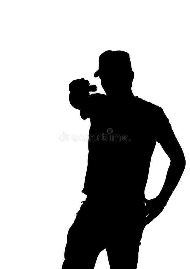 Silhueta de uma arma apontando masculina nova. fotos de stock