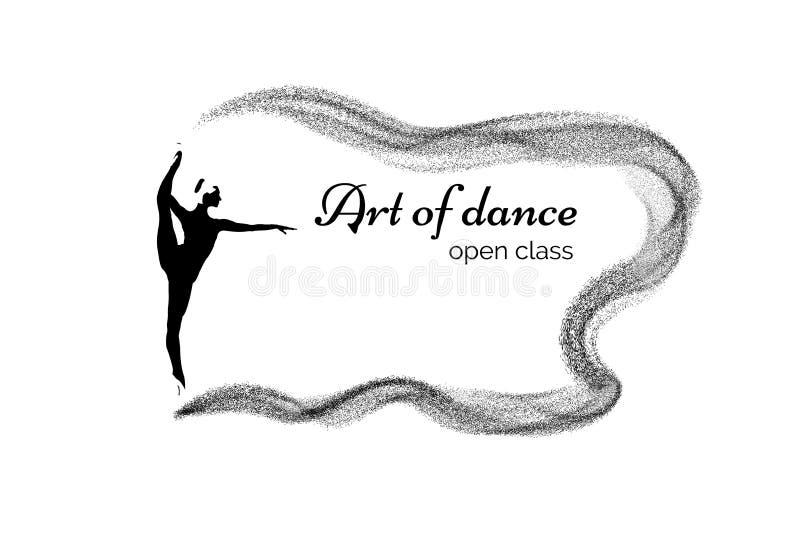 silhueta de uma bailarina em um suporte do bailado da guita, dança como a inscrição da arte no quadro de partículas de voo ilustração royalty free
