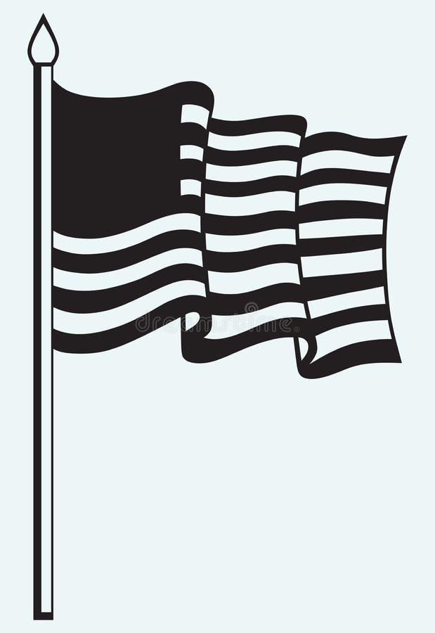 Silhueta de uma bandeira americana ilustração royalty free