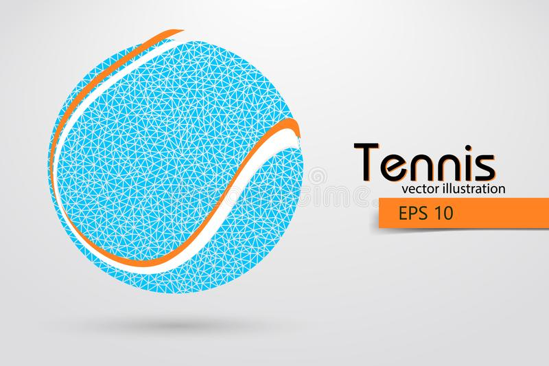 Silhueta de uma bola de tênis das partículas ilustração royalty free