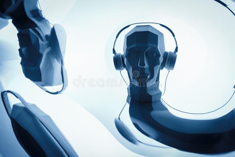 Silhueta de uma cabeça digital do cyber no fones de ouvido como um DJ ilustração stock