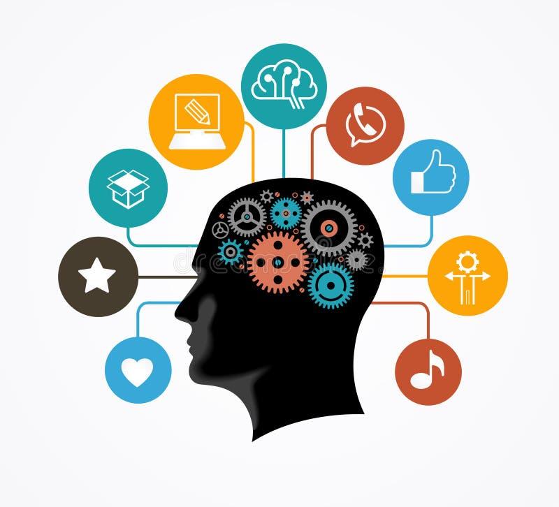Silhueta de uma cabeça do ` s do homem com as engrenagens na forma de um cérebro cercado por ícones ilustração royalty free