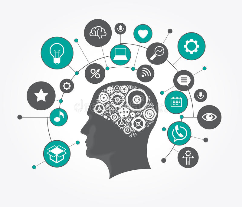 Silhueta de uma cabeça do ` s do homem com as engrenagens na forma de um cérebro cercado por ícones ilustração stock