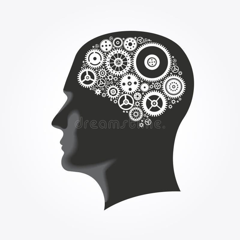 Silhueta de uma cabeça do ` s do homem com as engrenagens na forma do cérebro ilustração do vetor