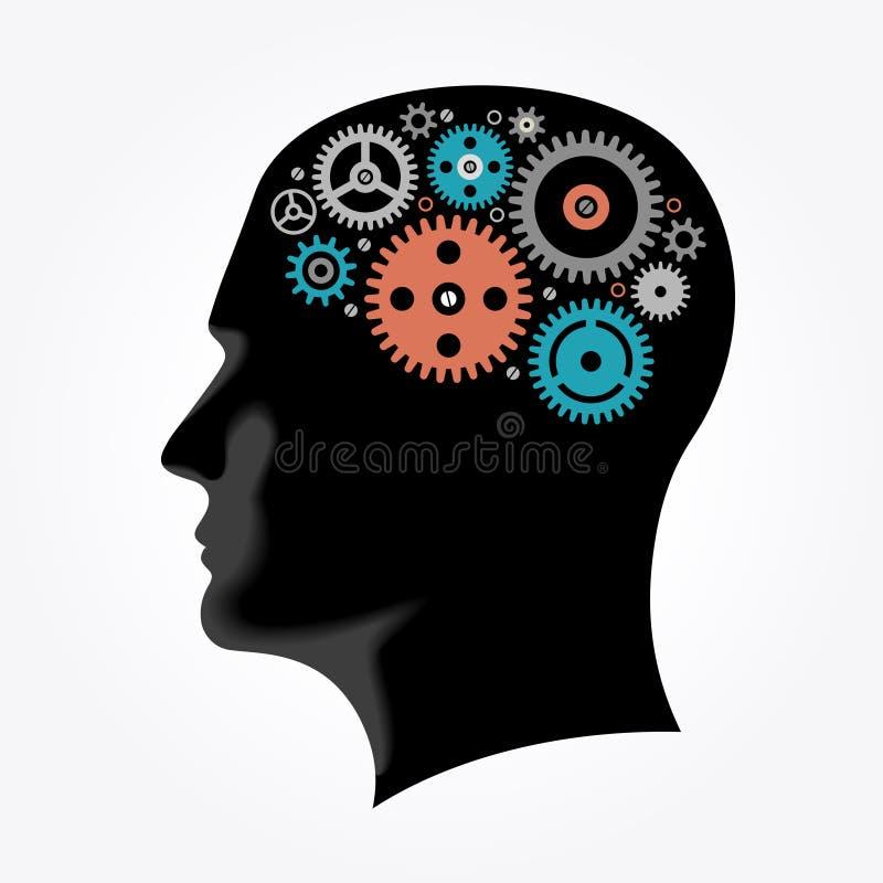 Silhueta de uma cabeça do ` s do homem com as engrenagens na forma do cérebro ilustração royalty free