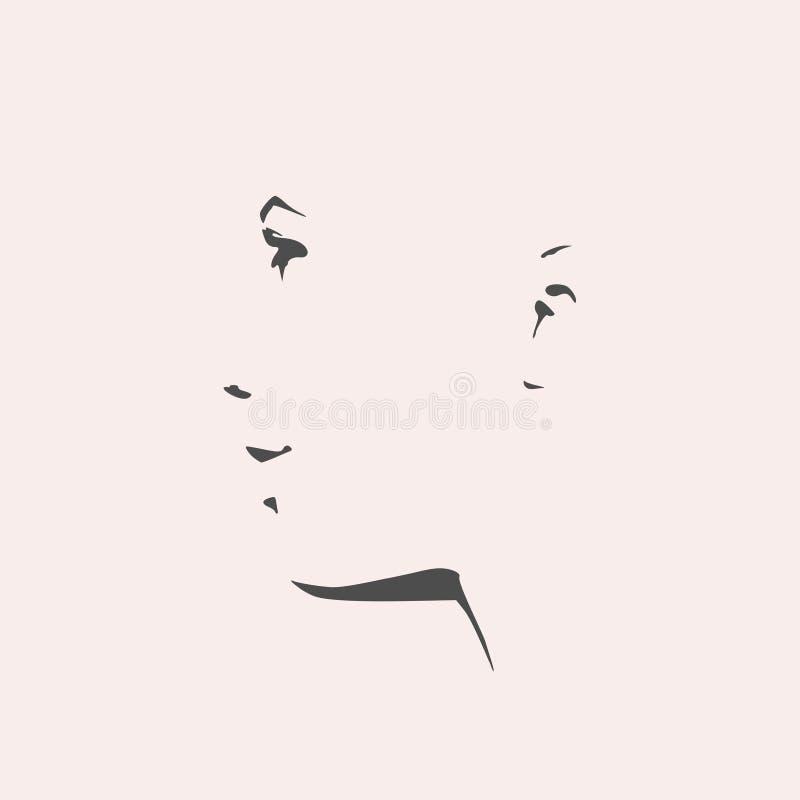 Silhueta de uma cabeça fêmea Vista de frente ilustração do vetor