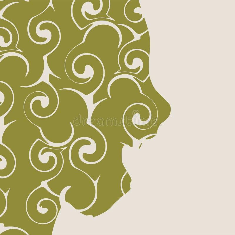 Silhueta de uma cabeça fêmea Vista de frente ilustração royalty free