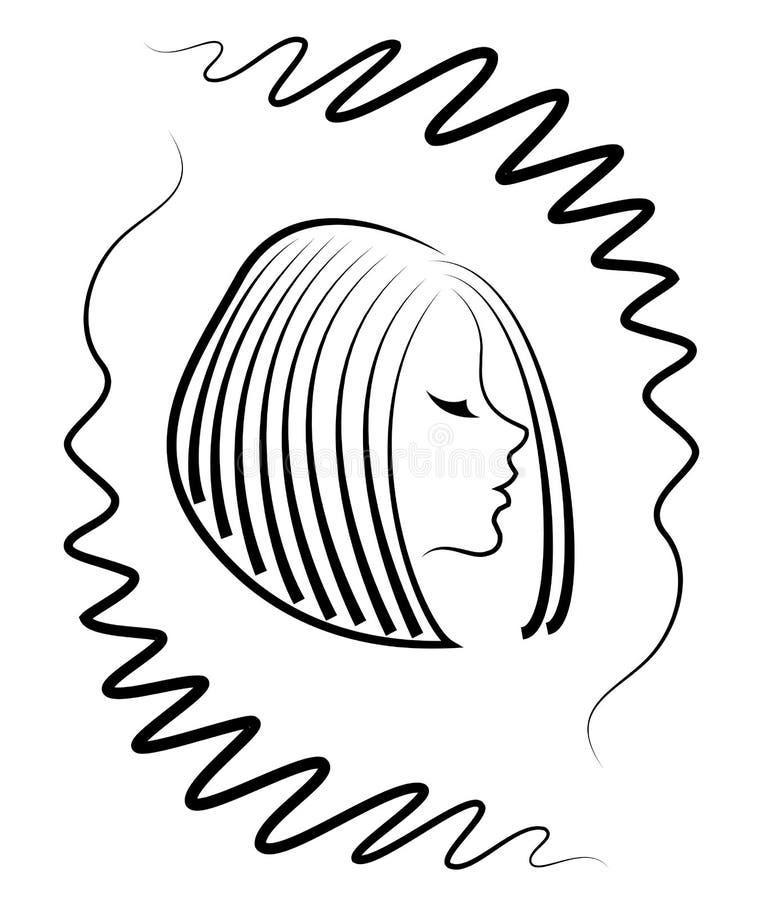 Silhueta de uma cabe?a de uma senhora bonito em um quadro criativo Uma menina mostra seu cabelo no cabelo m?dio e curto Apropriad ilustração stock