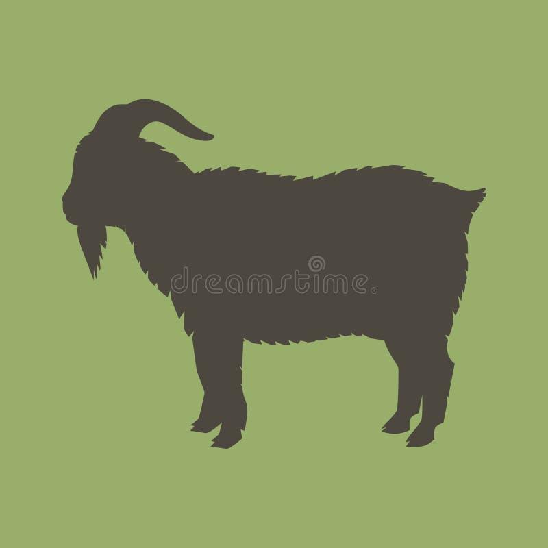 Silhueta de uma cabra com chifres foto de stock