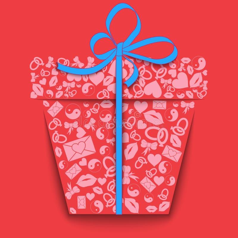 Silhueta de uma caixa de presente de papel feita de corações cor-de-rosa dos ícones do dia de Valentinees, bordos, anéis, envelop ilustração stock