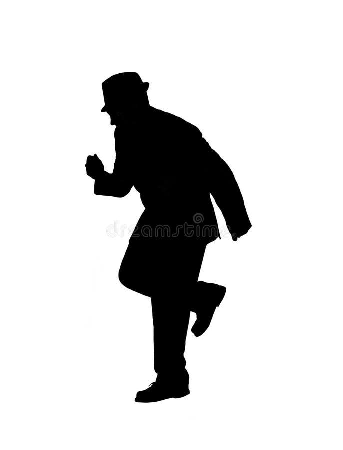 Silhueta de uma dança do homem imagem de stock royalty free