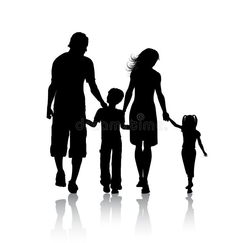 Silhueta de uma família ilustração stock