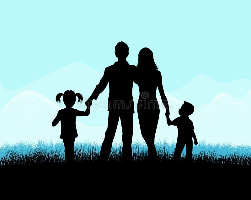 Silhueta de uma família ilustração royalty free