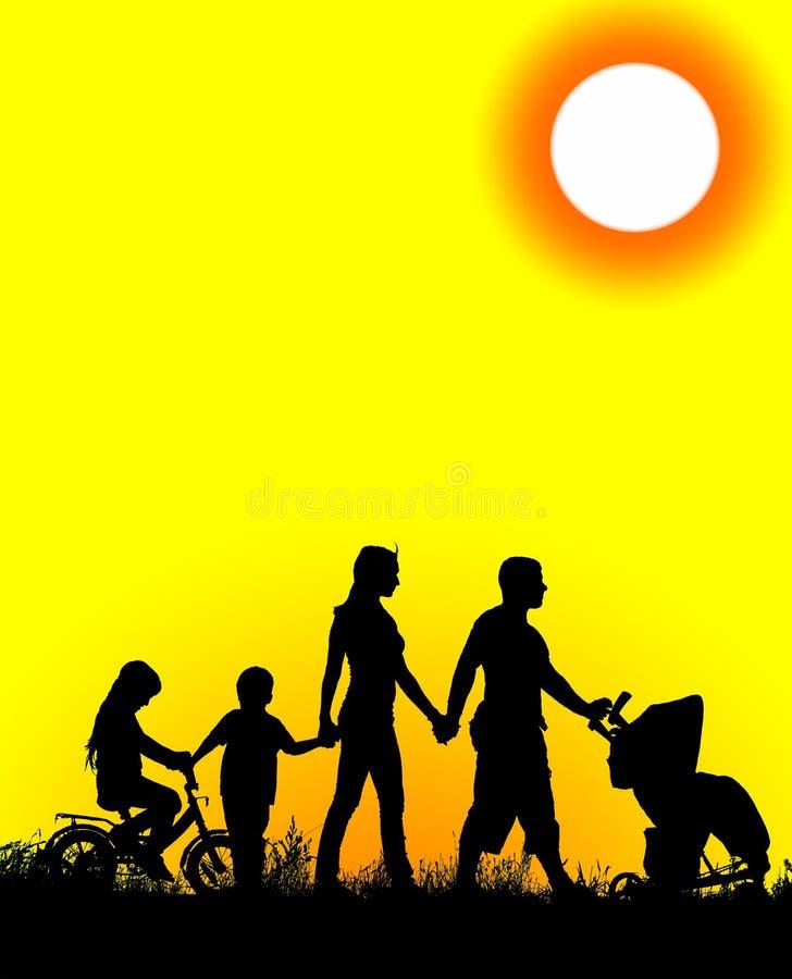 Silhueta de uma grande e família feliz imagens de stock royalty free