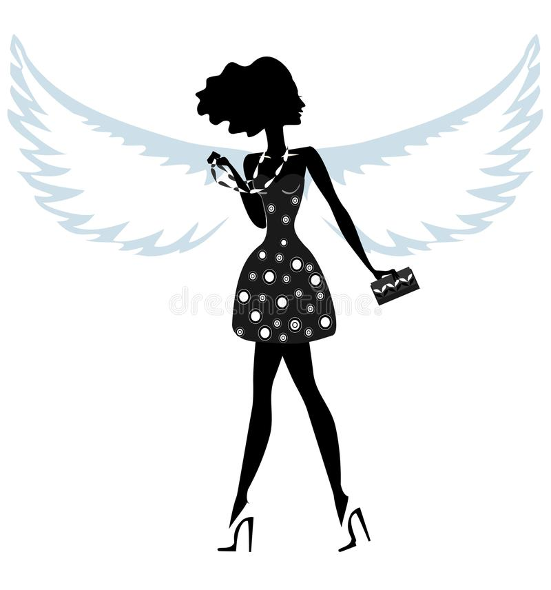 Silhueta de uma jovem mulher com Angel Wings ilustração stock