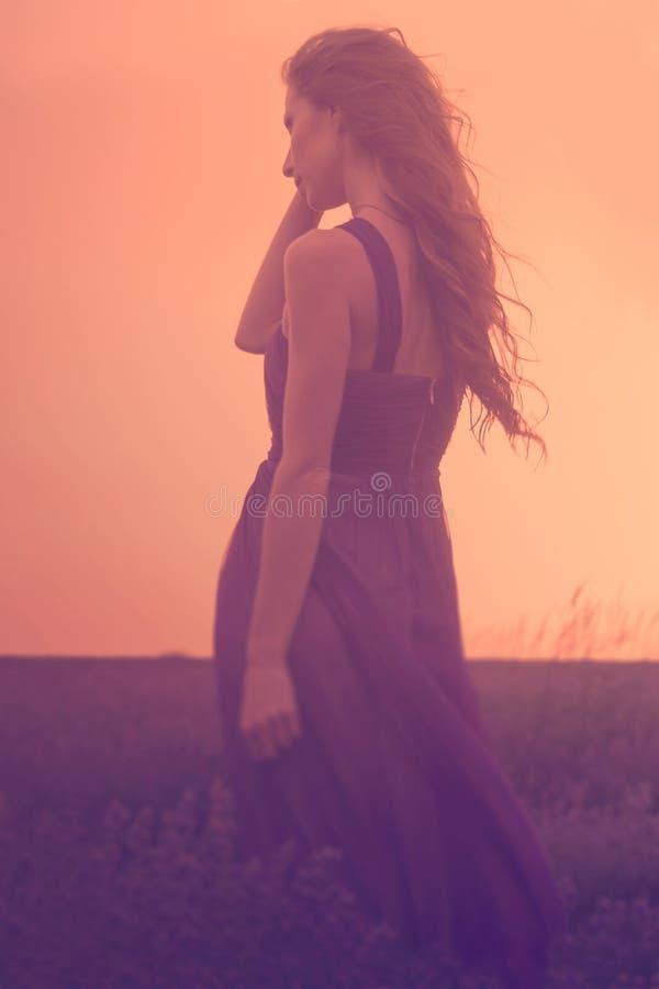 Silhueta de uma jovem mulher com cabelo longo que aprecia a SU bonita fotos de stock royalty free
