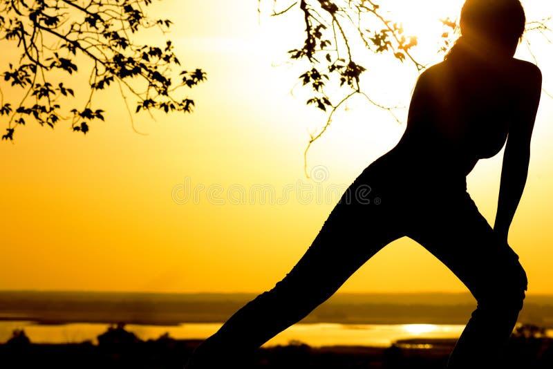 A silhueta de uma jovem mulher contratou na aptidão na natureza no por do sol, em um perfil fêmea dos esportes, no conceito do es foto de stock royalty free