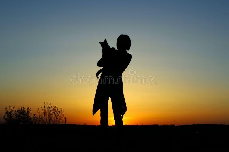 Silhueta de uma jovem mulher que guarda Cat At Sunset fotografia de stock