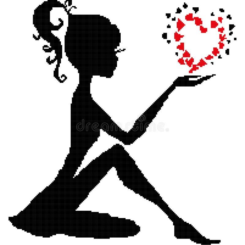 Silhueta de uma menina de assento na mão de uma borboleta sob a forma de um coração, tirada por quadrados, pixéis Ilustração do v ilustração royalty free