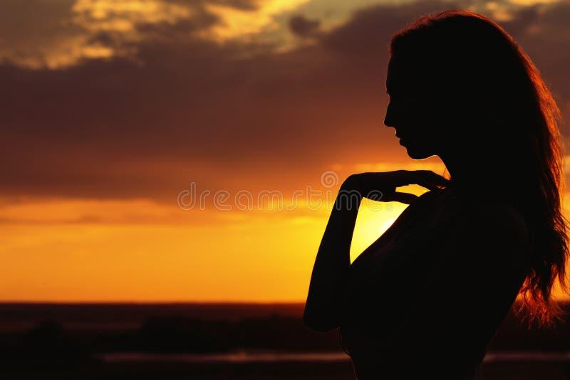 Silhueta de uma menina bonita no por do sol em um campo, perfil da cara da jovem mulher na natureza imagem de stock